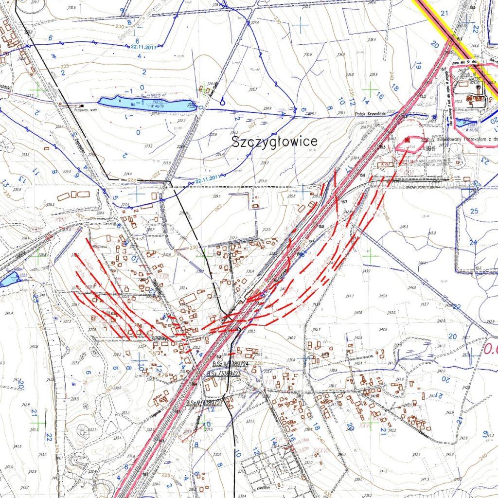 Mapa nieciągłości górniczych