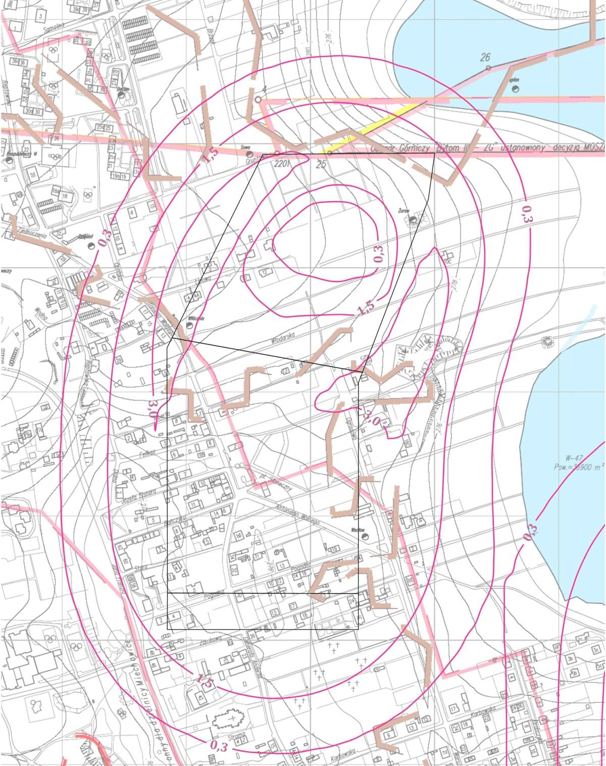 Odkształcenia terenu mapa