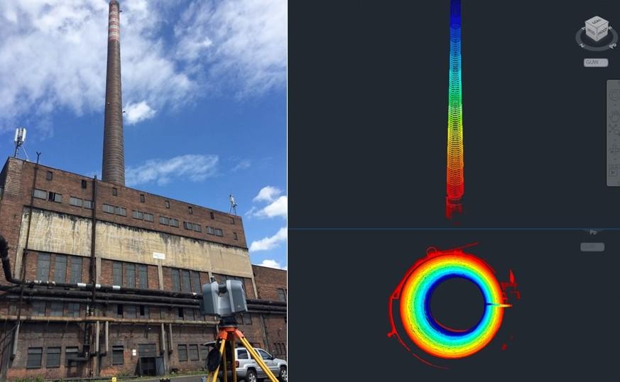 Pomiary wychylenia komina skaner laserowy 3D